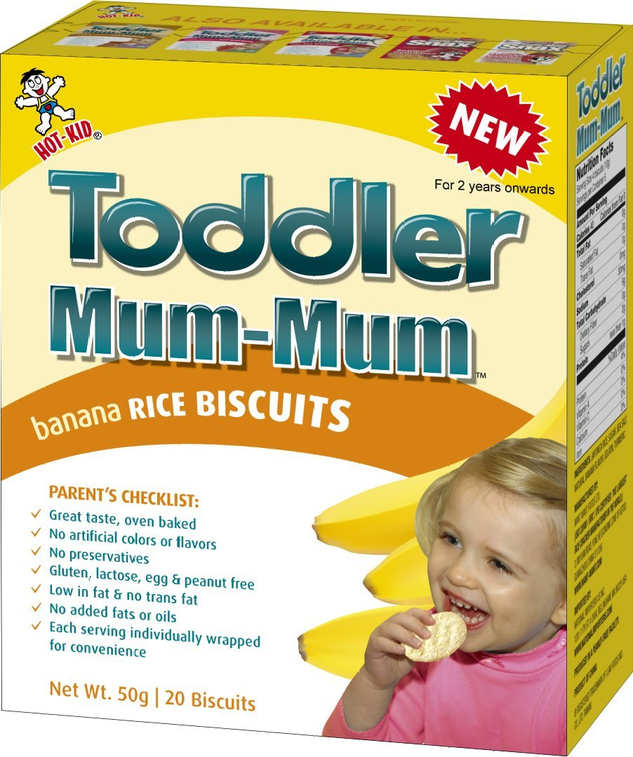 Hot-Kid Toddler Mum-Mum Rice Biscuits, Organic Strawberry