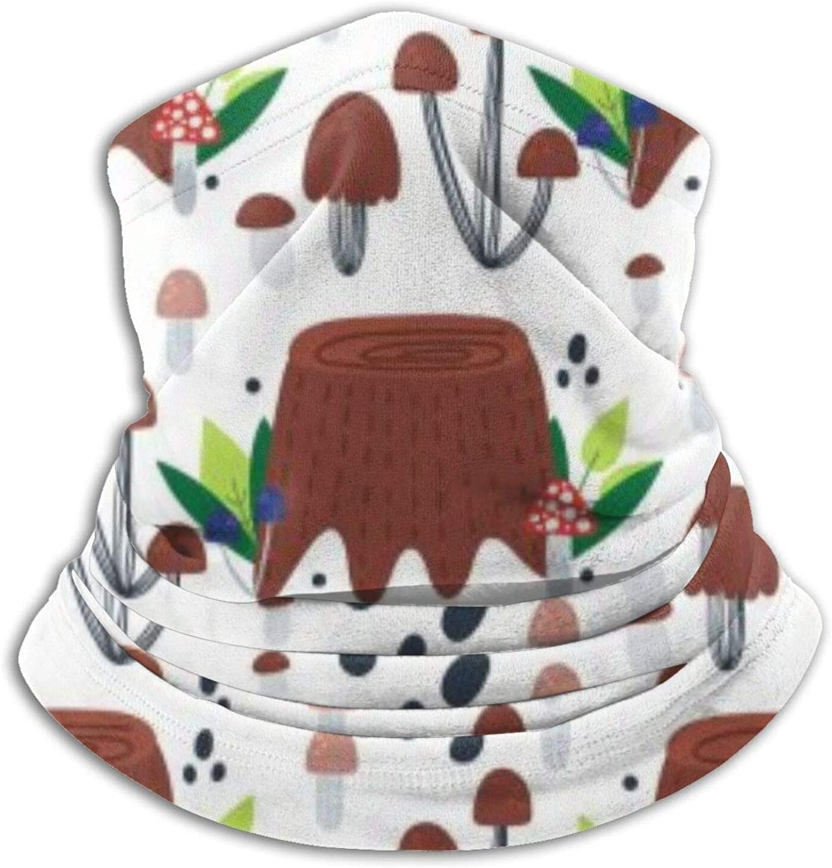 Tocones de árboles dibujados a mano, hongos y hojas, polaina para el cuello, cara a prueba de viento, bandanas reutilizables para mascarilla para protección