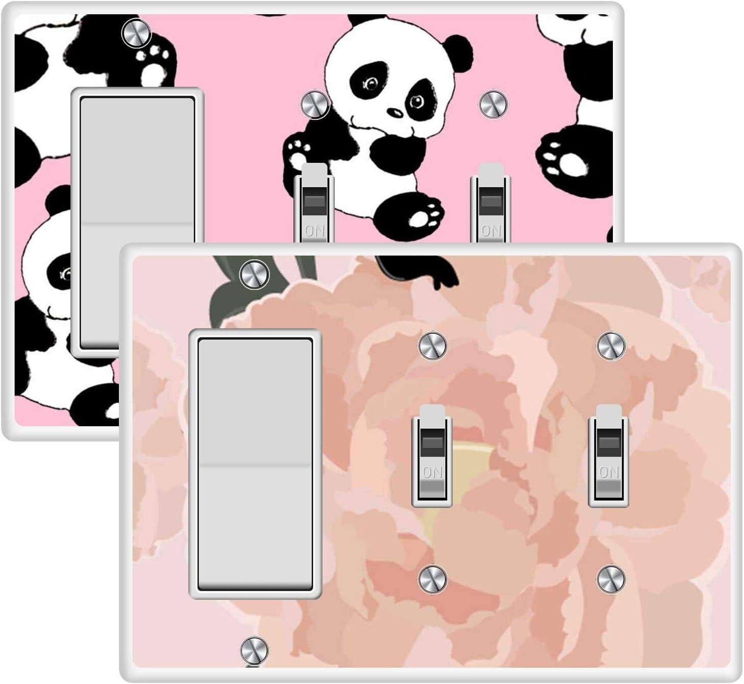 KANGHAR Wallplates Cute Panda Baby Pink Rose Flowers Square Single Decor+Double Toggle White Outlet Wall Plate Cover