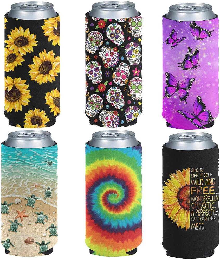 NETILGEN Slim Can Sleeves Soft Insulator for Tall Beverage, Butterfly Sunflower Turtle Skull Rainbow Beer Cans Cooler, Cooize Skinny Insulators Covers for Energy Cover-6 Pack