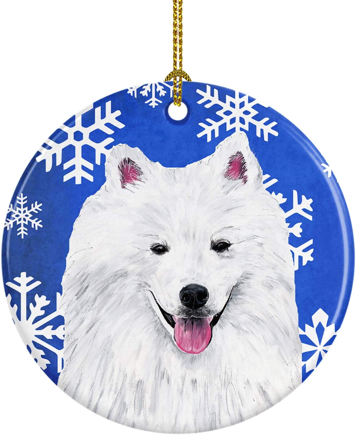 Amazon Com Caroline S Treasures Sc9379 Co1 American Eskimo Winter Snowflakes Holiday Ceramic Ornament Sc9379 3 In Multicolor Caroline S Treasures Home Kitchen