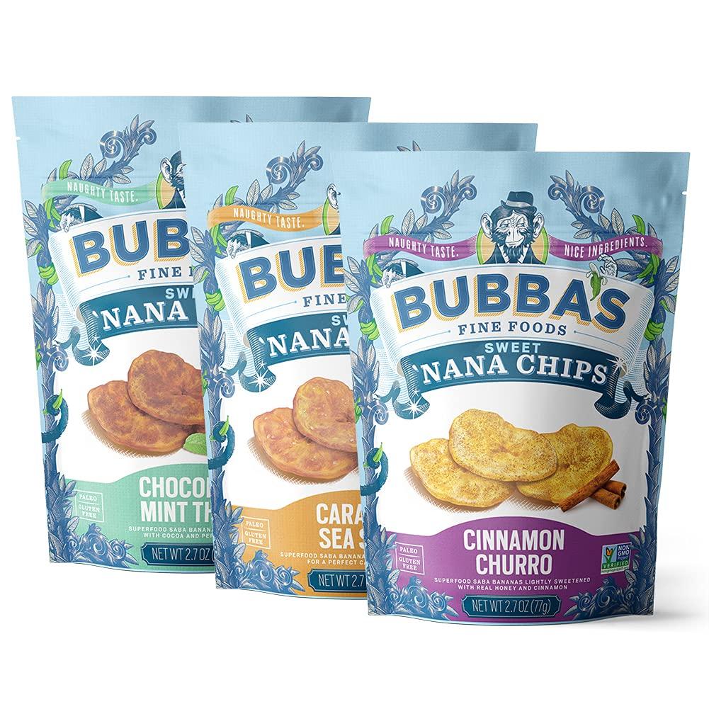 Bubba's Fine Foods Sweet Nana Chip Grain Free Treats | No Refined Sugar, Paleo, Gluten Free Sweet Snacks | Variety Pack, 2.7 Ounce (Pack of 6)
