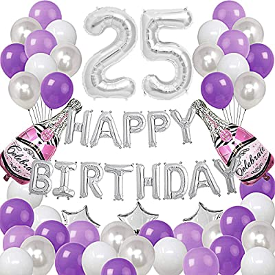 Silver Number 25 Foil Balloons Happy Birthday Banner with 47Pcs Latex and Foil Balloons for 25th and 52nd Birthday Party Decoratons Purple Silver Theme Party Supplies: Health & Personal Care