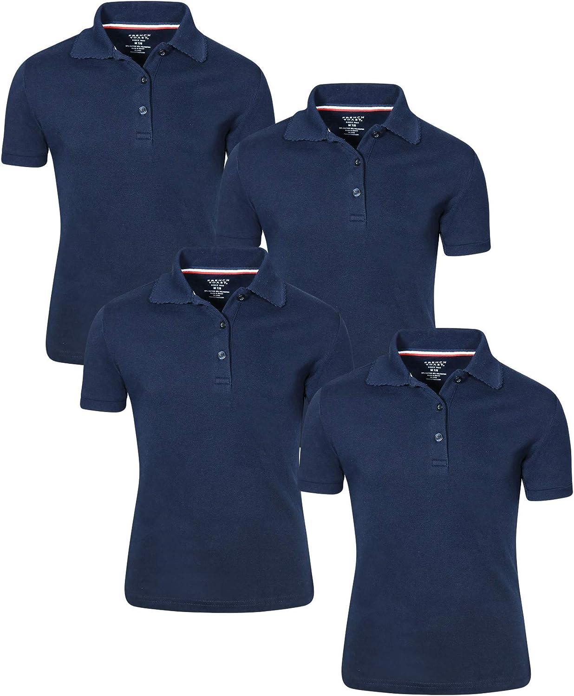 French Toast Girl's Uniform Polo Short Sleeve Interlock (4 Pack): Clothing