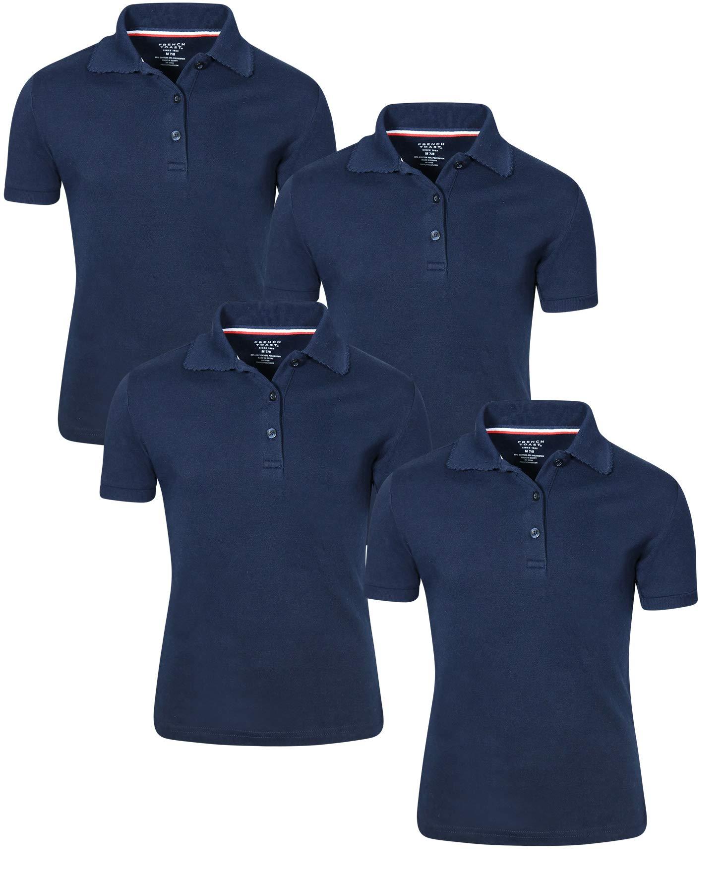French Toast Girl's Uniform Polo Short Sleeve Interlock (4 Pack) (Large - 10/12, Navy)'