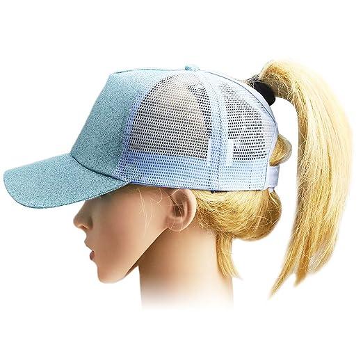 Amazon.com  BIZAR Womens Baseball Cap High Ponytail Messy Bun ... 8a928b494e6