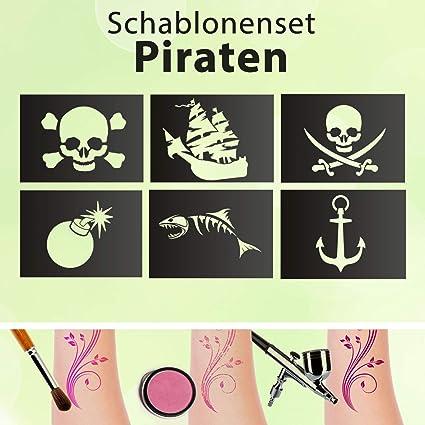 Tattoo Plantillas Set Niños Piratas 6 Plantillas Purpurina Tatuajes