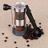 Goolsky Portable Manual Coffee Grinder Coffee Bean Mill with Ceramic Grinding Core Brush and Spoon Kitchen Tool