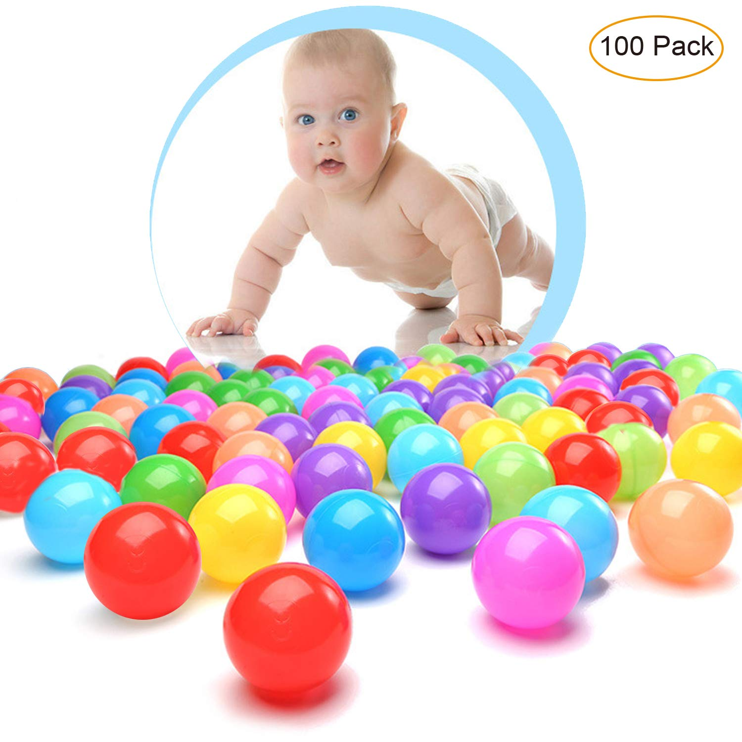 HOMEILY 100 Colorful Plastic Balls for Kids Babies Ball Pit Balls with Free BPA Free Crush Proof Ocean Balls for Toddlers Babies Toys