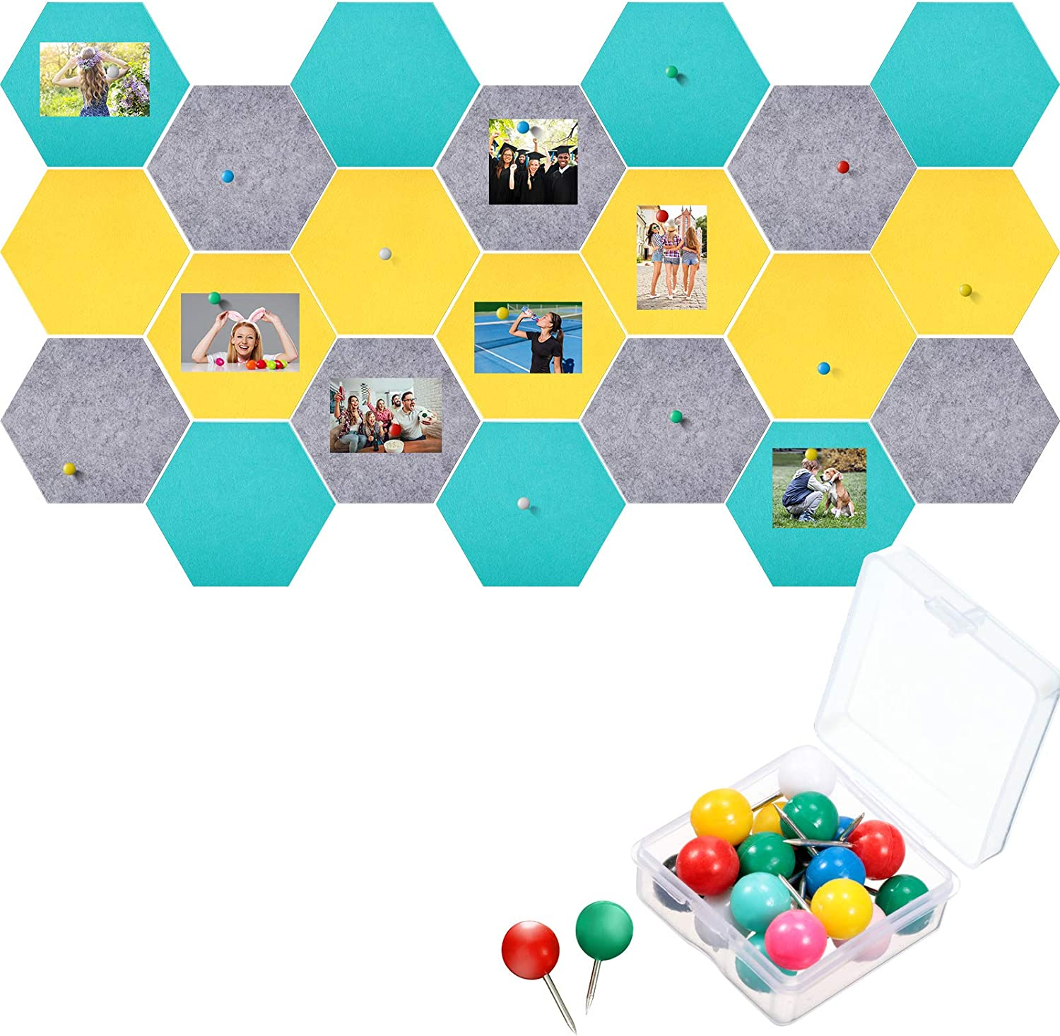 21 Pieces Pin Board Hexagon Felt Board Tiles Bulletin Board Memo Board Notice Board with 40 Pieces Push Pins for Home Office Classroom Wall Decor 5.9 x 7 Inches/ 15 x 17.7 cm (Grey, Yellow, Turquoise)