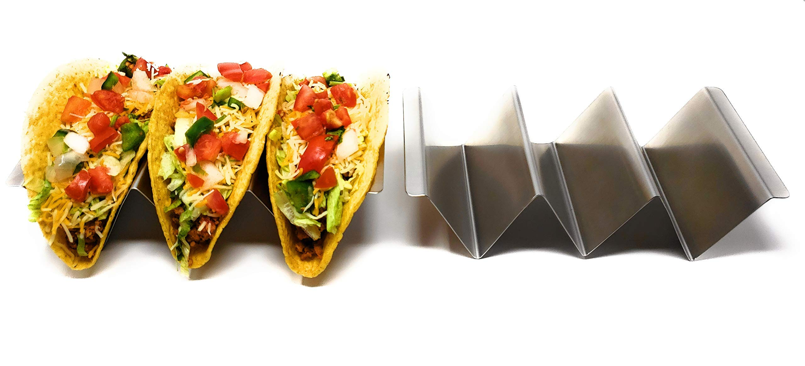 4 Pack- Trendy Stainless Steel Taco Holders With Easy Carry Handles. Taco Stands Holds Up To 3 Tacos Each. Oven, Grill and Dishwasher Safe
