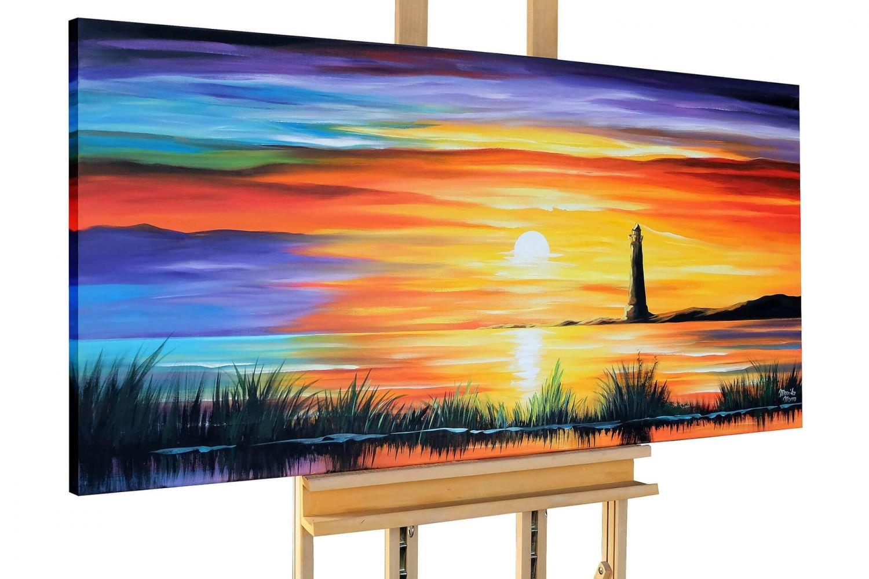 KunstLoft® Acryl Gemälde 'Insel der Idylle' 140x70cm     original handgemalte Leinwand Bilder XXL   Sonnenuntergang Sonne Meer Strand   Wandbild Acrylbild moderne Kunst einteilig mit Rahmen 461d49