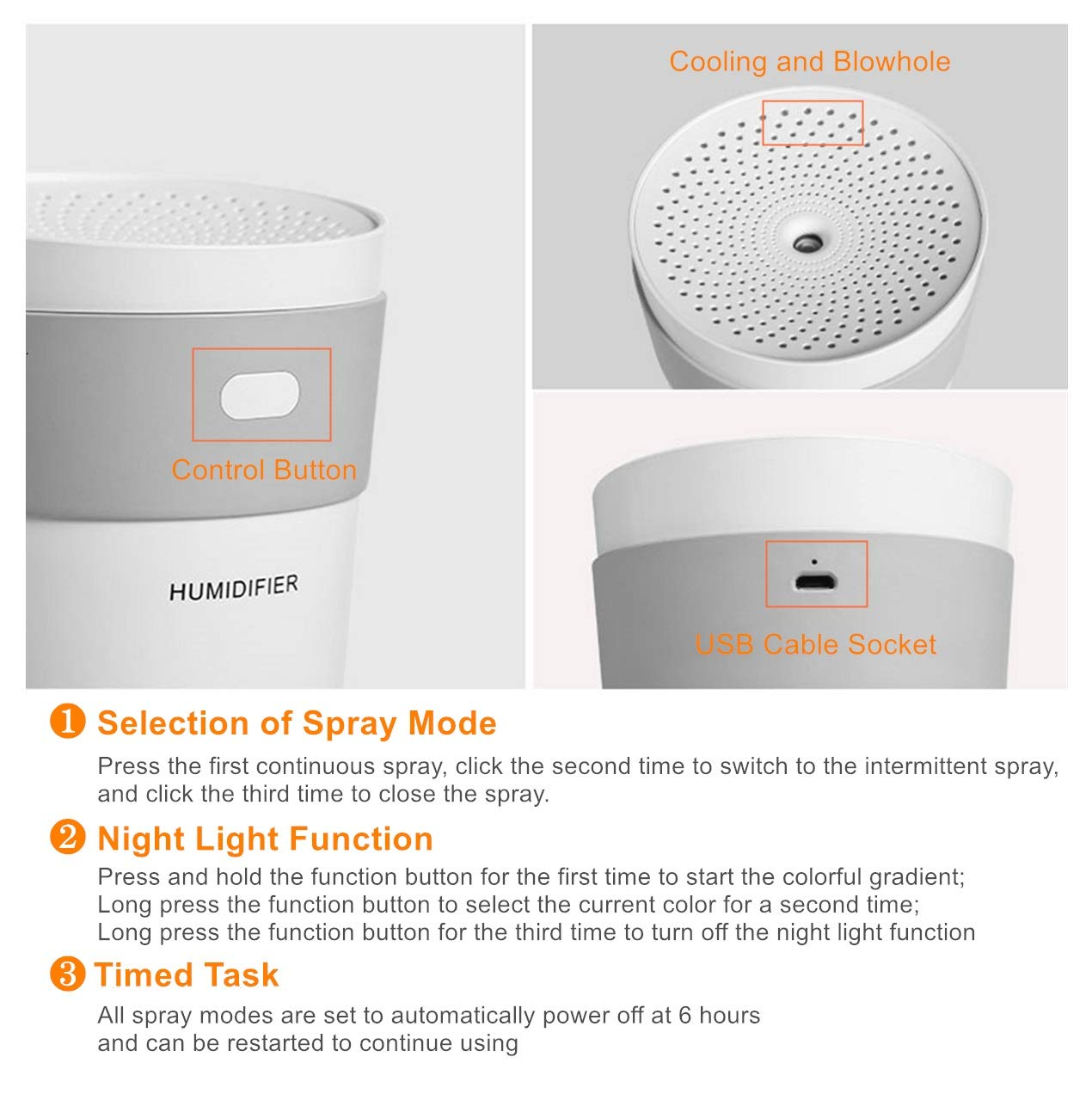 KIART Quiet Cool Mist Humidifier, 260 ml Mini Portable USB Humidifier with 7-color Night Light, Smart Sleep Mode, Auto Shut Off for Home Car Office Travelling