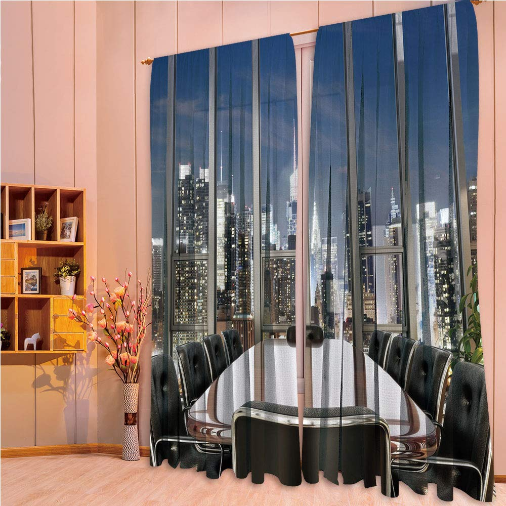 ZHICASSIESOPHIER Modern Style Room Darkening Blackout Window Treatment Curtain Valance for Kitchen/Living Room/Bedroom/Laundry,Conference Room Table Chairs City View at Dusk 84Wx95L Inch