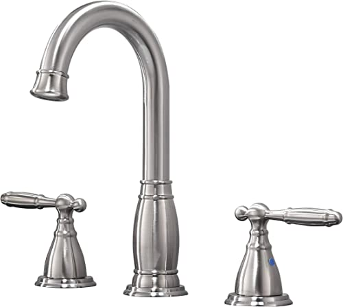 Phiestina Contemporary 3 Holes Double Handles Copper Widespread Bathroom Faucet, Brush Nickle Without Drain