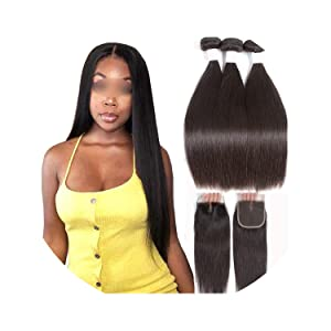 Straight Human Hair 3 Bundles With Closure 100% Remy Hair Weft Weave Extensions Brazilian Hair Bundles With Closure,12 & 14 & 16 & Closure 10,Free Part