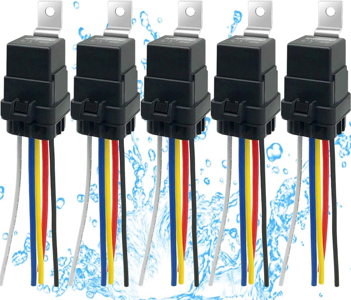 IRHAPSODY 5 PACK 80/60 AMP Waterproof Relay and Harness - Heavy Duty 12 AWG Wires, 12 V DC 5-PIN SPDT Bosch Style Automotive Relay