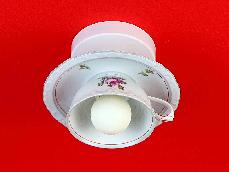 Tassenlampe, Lampe aus Tasse, Geschirrlampe, Vintage Küchenlampe, Boho Deckenlampe aus Geschirr
