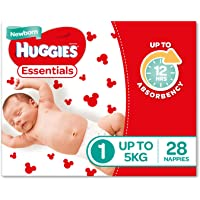 Huggies Essentials Nappies, Size 1 Newborn (Up To 5kg), 28 Count