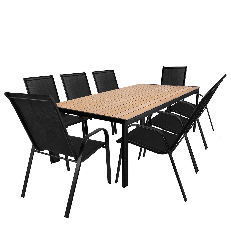 Wohaga 9tlg. Sitzgarnitur - Gartentisch, Aluminiumrahmen, Polywood Tischlatte braun, 205x90cm + 8X Stapelstuhl, Textilenbespannung schwarz/Sitzgruppe Gartenmöbelgarnitur Terrassenmöbel