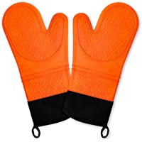 Chrider Silicone Non Slip Oven Mitts Set, Heat Resistant Cooking Gloves Waterproof BBQ Kitchen Oven Mitts with Inner…