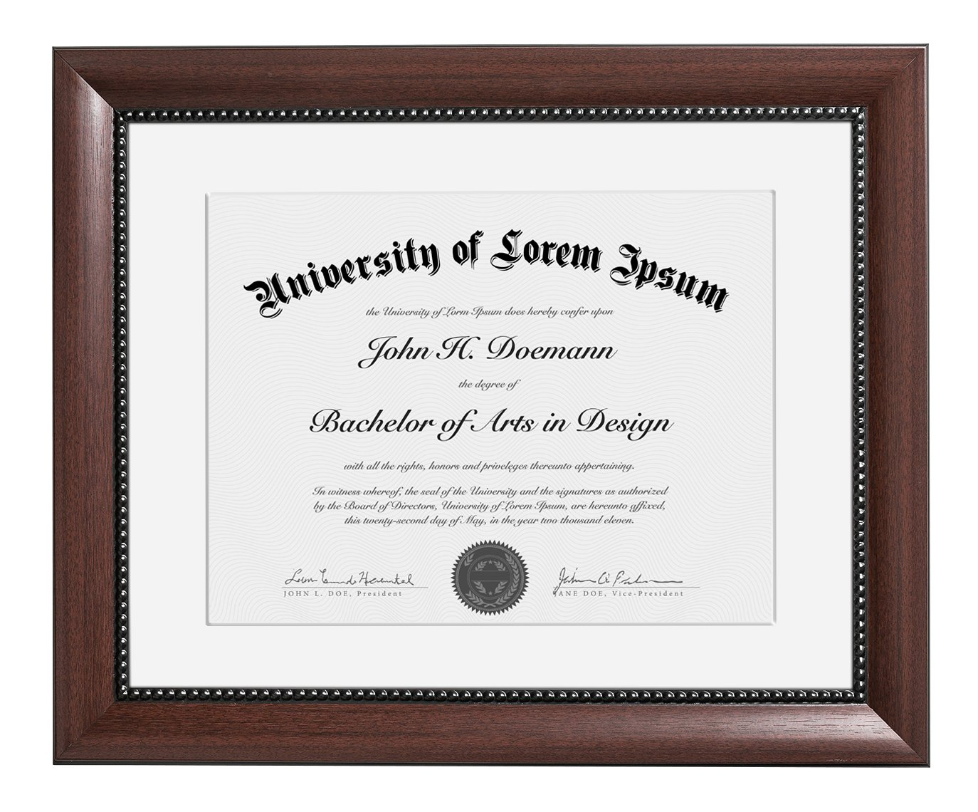 Americanflat 11x14 Mahogany Document Frame - Made to Display Certificates 8.5x11 with Mat and 11x14 without Mat, Classic Style, Mahogany Brown - Document Frames, Certificate Frames, Diploma Frames DO1114RGMA