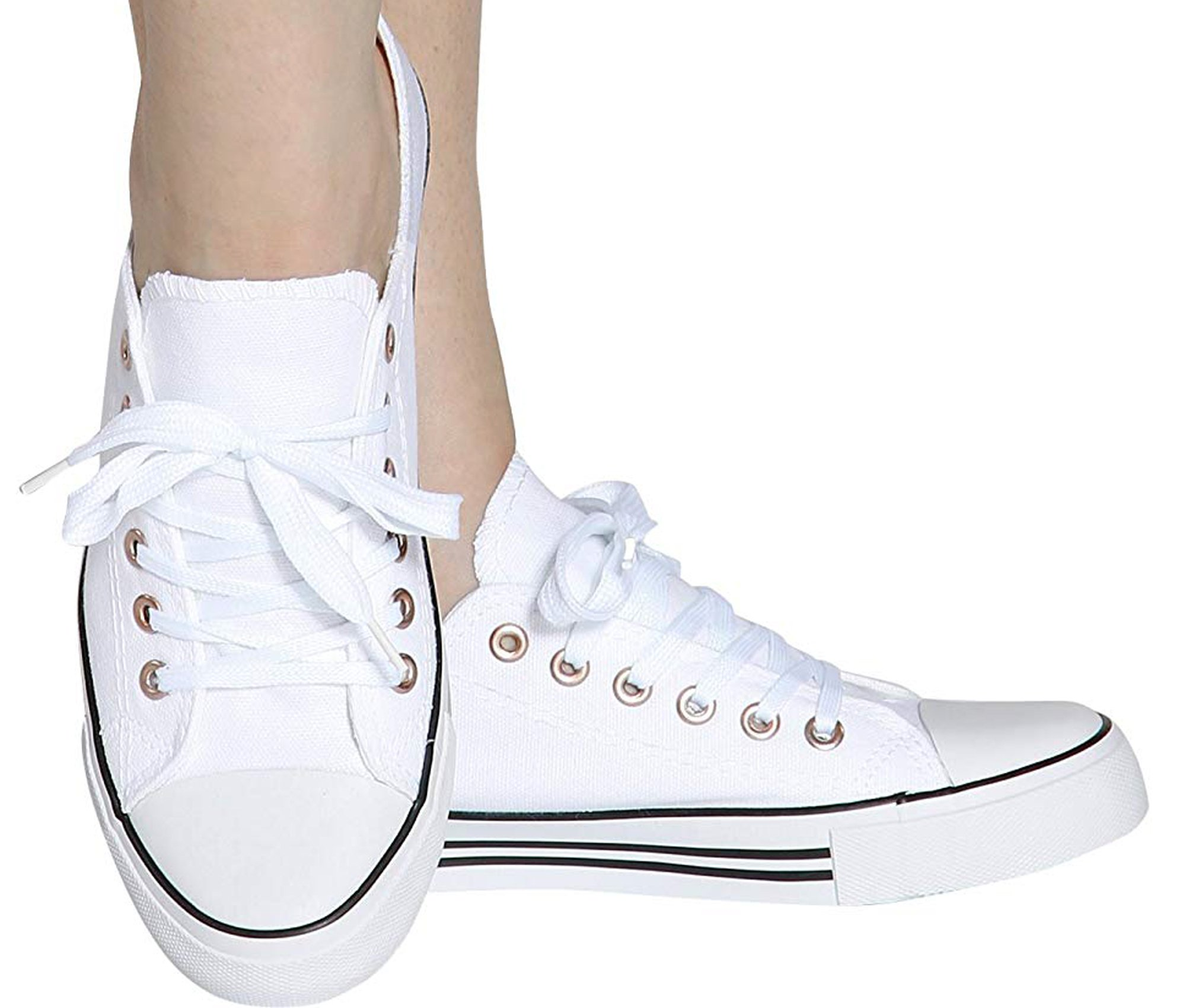 875229d562 Galleon - Shop Pretty Girl Women's Sneakers Casual Canvas Shoes Solid  Colors Low Top Lace Up Flat Fashion 2.0 (10, All White Canvas W/Black  Stripes)