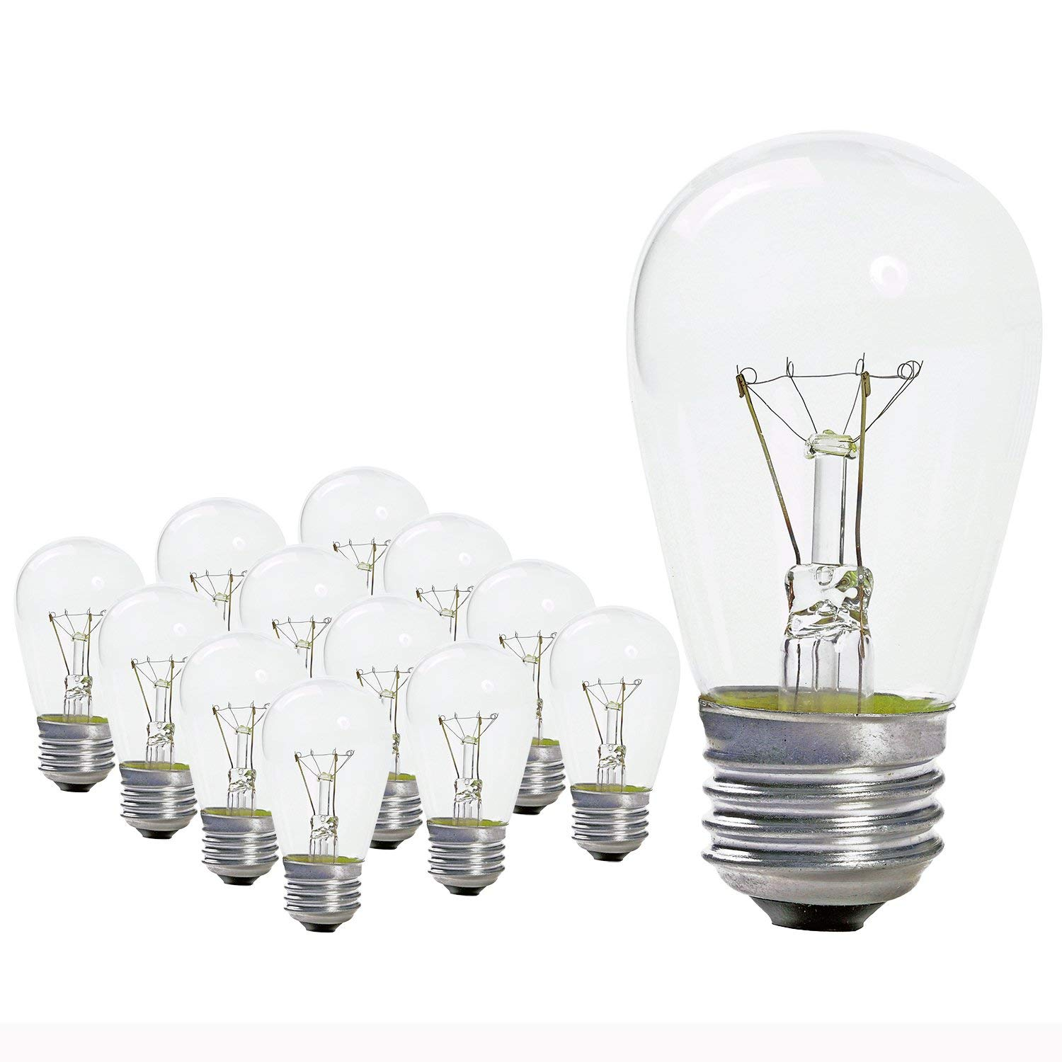 UL-Listed S14 2W Dimmable E26 Edison Light Bulbs for Outdoor String Lights Replacement Bulbs 2W LED Bulbs 15-Pack YiLighting