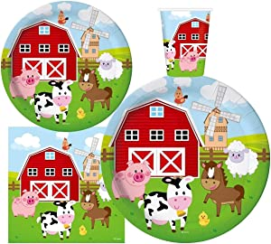 Serves 30 | Complete Party Pack | Farm House Fun Barnyard Animals Party Supplies | 9