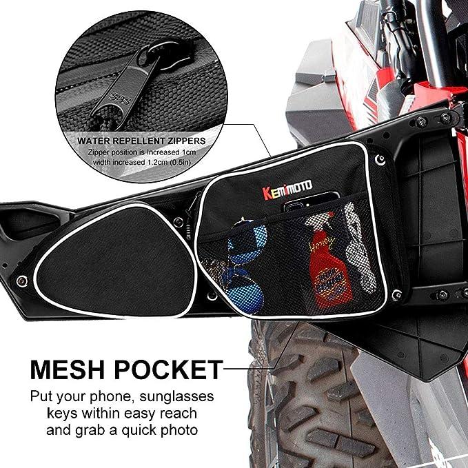 Side Door Bags for Polaris RZR, KEMiMOTO UTV Front Door Driver and Passenger Side Storage Bag Set with Knee Pad for 2014-2018 Polaris RZR XP 1000 ...