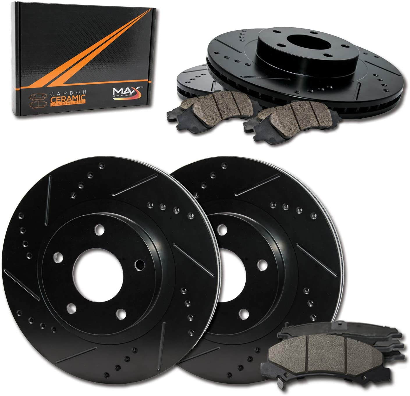2004-2010 BMW X3 Premium Slotted Drilled Rotors + Ceramic Pads KT050233 Fits Max Brakes Front /& Rear Performance Brake Kit