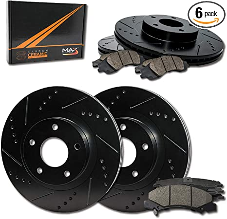 OE Series Rotors + Ceramic Pads Fits: 2010 10 2011 11 2012 12 2013 13 Cadillac SRX Max Brakes Front /& Rear Supreme Brake Kit KM155843