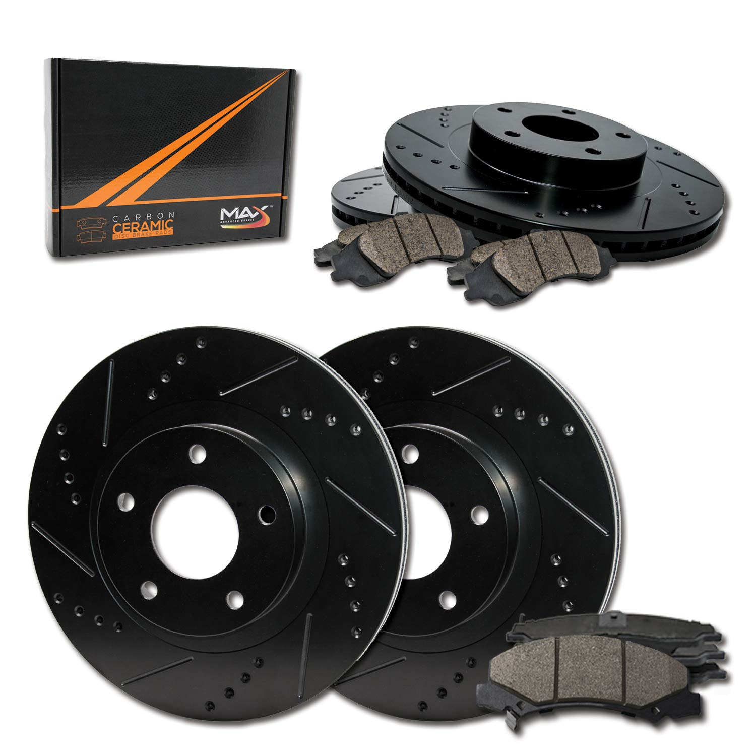 Max Brakes Front & Rear Elite Brake Kit [ E-Coated Slotted Drilled Rotors + Ceramic Pads ] KT079383 Fits: Infiniti 2003 2004 G35 | Nissan 2003-2005 350Z (Non-Brembo) by Max Advanced Brakes