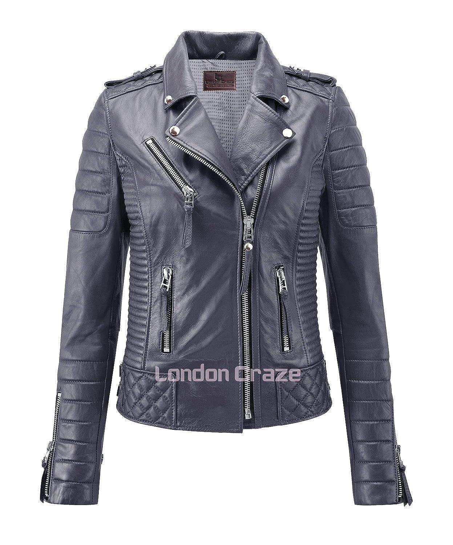 London Craze Women's Leather Jacket Stylish Motorcycle Biker Genuine Lambskin Gray