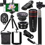 XCSOURCE 10 in 1 Mini Lens Kit 8x Telephoto Lens + Fish Eye Lens + Wide Angle + Macro Lens Selfie Stick Monopod + Bluetooth Remote Control + Mini Tripod For iPhone 4S 5C 5S 5SE 6 6S Plus HTC LG XC311