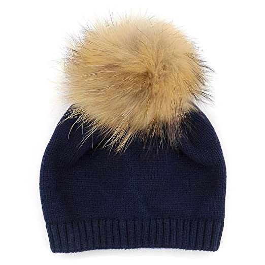 GZHILOVINGL Crochet Knitted Cotton Beanies Cap Baby Toddler Real Fur Pom  Pom Hat(Navy) 72ac16da17d2