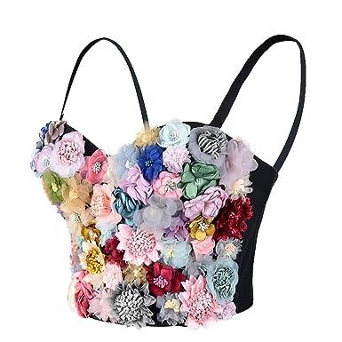 0ee1c5ce152 ELLACCI Women's 3D Floral Bustier Crop Top Wedding Party Club Bra ...
