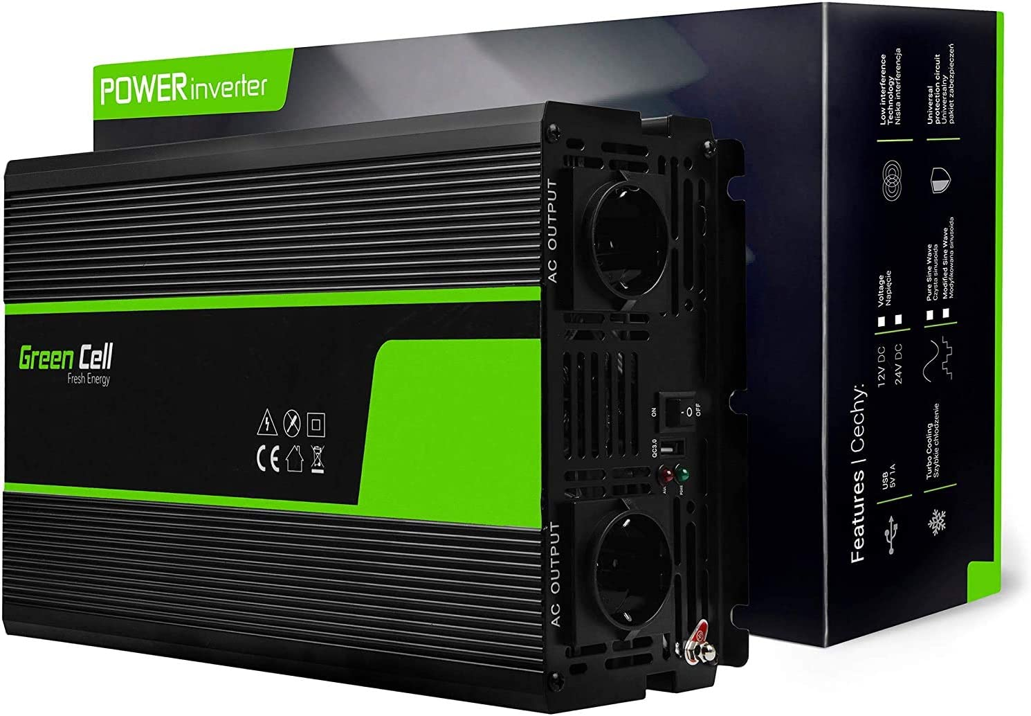 Green Cell® 3000W/6000W Onda sinusoidal Pura Inversor de Corriente Power Inverter DC 12V AC 220V, Transformador de Voltaje para Coche con Puerto USB y Pinzas de conexión a batería