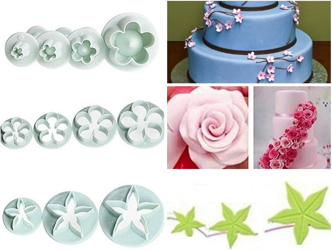4 Beautiful flower Cutter Plunger Sugarcraft Cake Decorating Free 1st Class P/&P