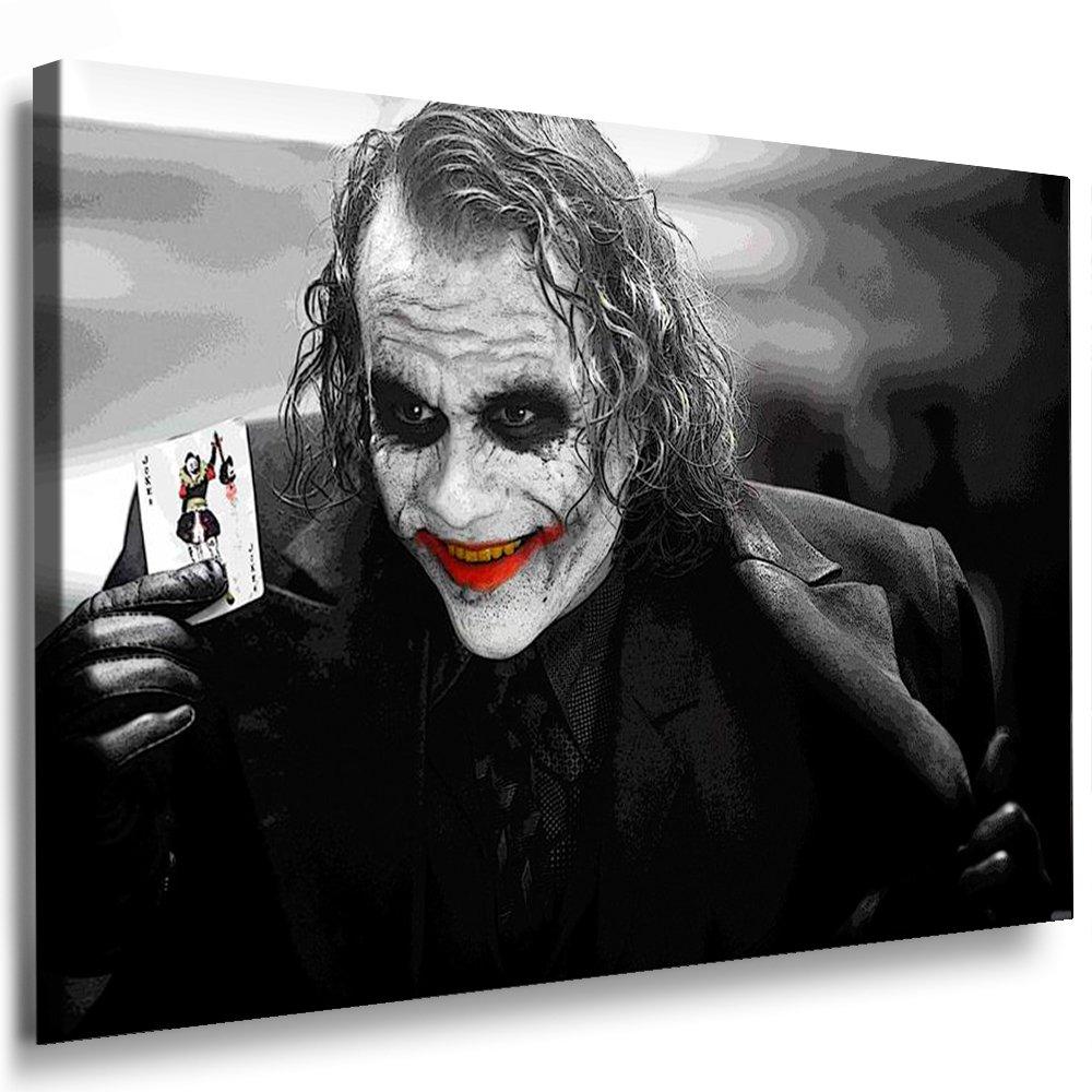 Boikal   Leinwand Bild Joker - Film Batman Heath Ledger Leinwanddruck, Kunstdruck fm30 Wandbild 120 x 80 cm