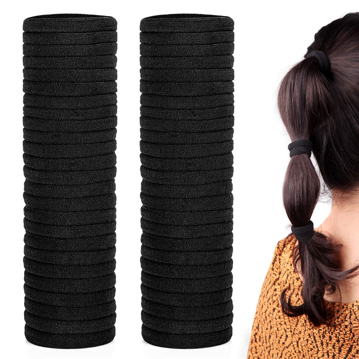 50 Pack Dreamlover Seamless Thick Cotton Hair Rubber Bands, Elastic Durable Ponytail Holders Hair Ties, Ponytail Buns Headbands, No Crease and Damage Hair Accessories for Kids, Girls and Women (Black)