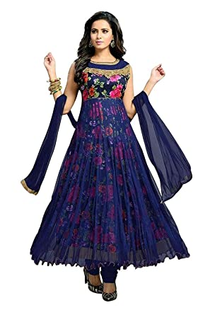 65009fee0 dresses for women( Lady Loop Women's Net and Satin Flower Print Anarkali Dress  Material ): Amazon.in: Clothing & Accessories