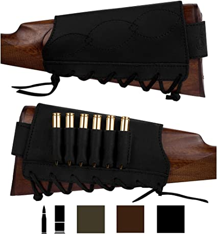 BRONZEDOG Adjustable Leather Buttstock Cartridge Ammo Holder for Rifles 12 16 Gauge or .30 30 .308 Caliber Hunting Ammo Pouch Bag Stock Right Handed