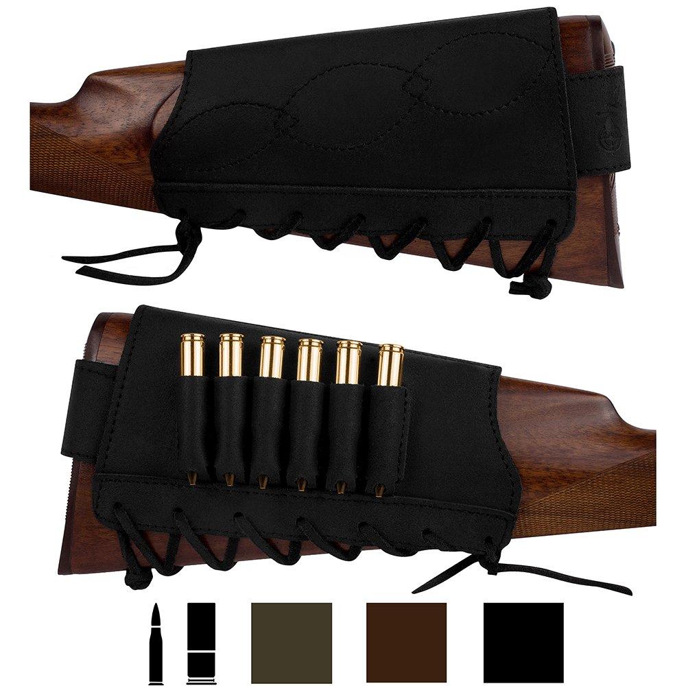 BronzeDog Adjustable Leather Buttstock Cartridge Ammo Holder for Rifles 12 16 Gauge or .30-30 .308 Caliber Hunting Ammo Pouch Bag Stock Right Handed Shotgun Shell Holder (Black, 7.62 Caliber) by BronzeDog
