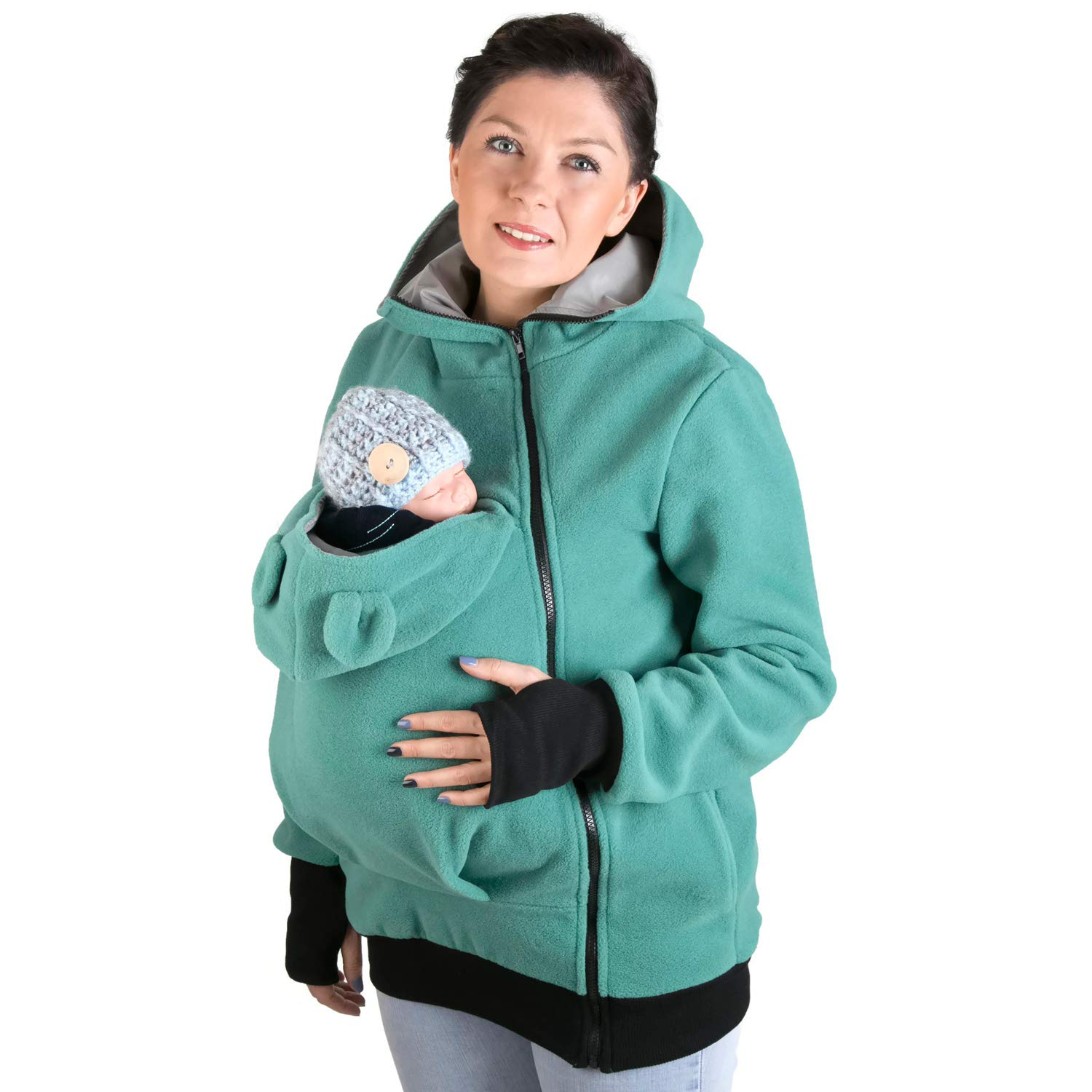 FUN2BEMUM Little Bear Hoodie//Pullover for Baby Carriers NP02//A Turq//Grey
