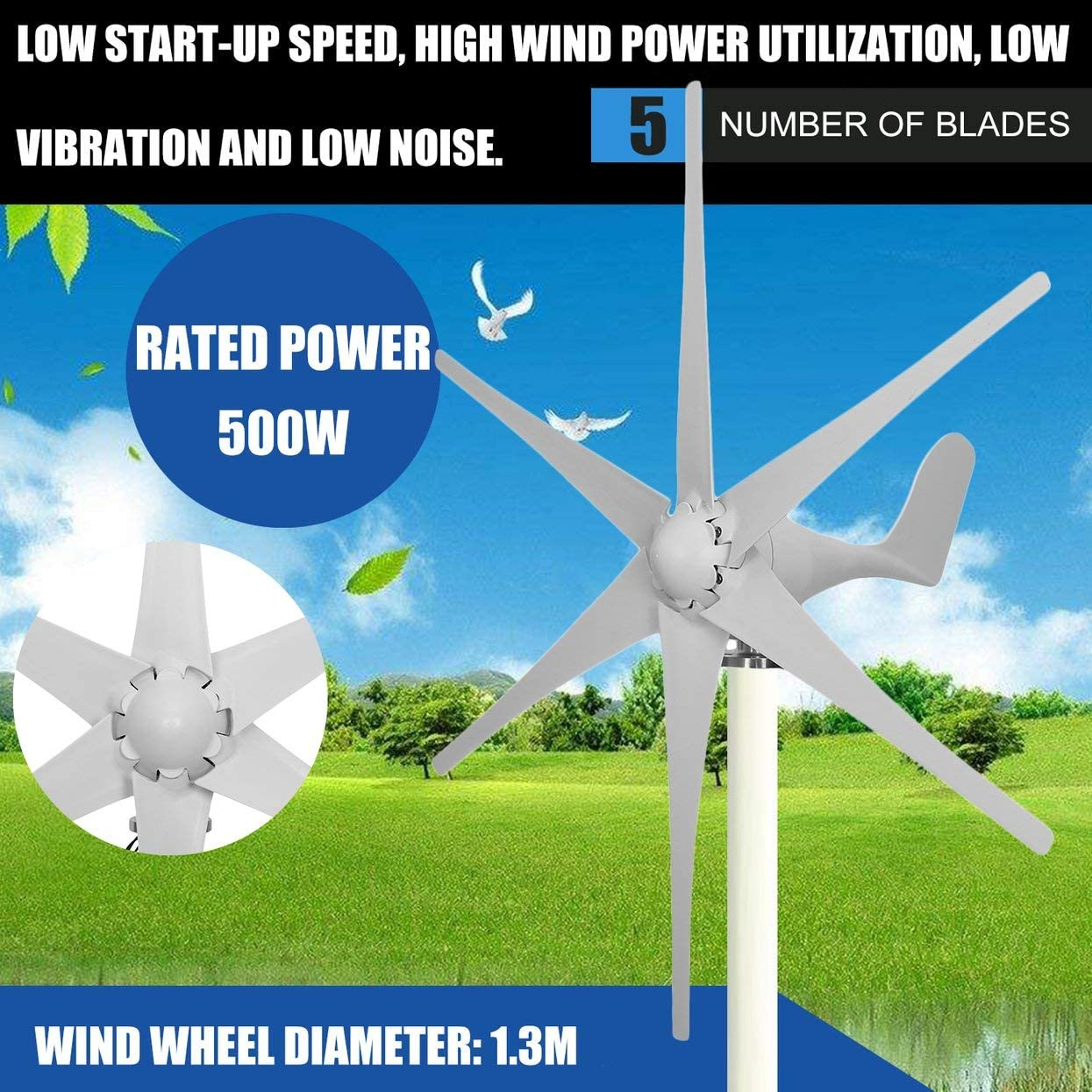 500W 48V 6 Nylon Fiber Blades Wind Power Generator Home Kit 3 Phases AC PMG BEST