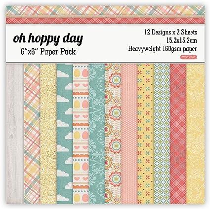 OH Hoppy Day Scrapbooking Paper Pack de 24 hojas hecho a mano Craft Paper Craft Background Pad: Amazon.es: Oficina y papelería