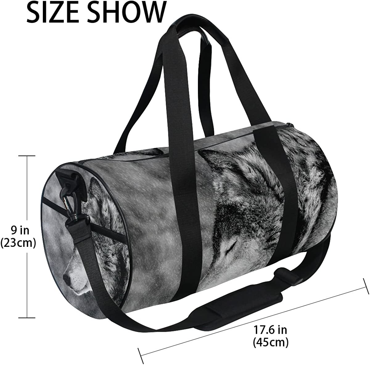 Evolutions Black And White Wolfs Travel Duffel Bag Sports Gym Bag For Men /& Women