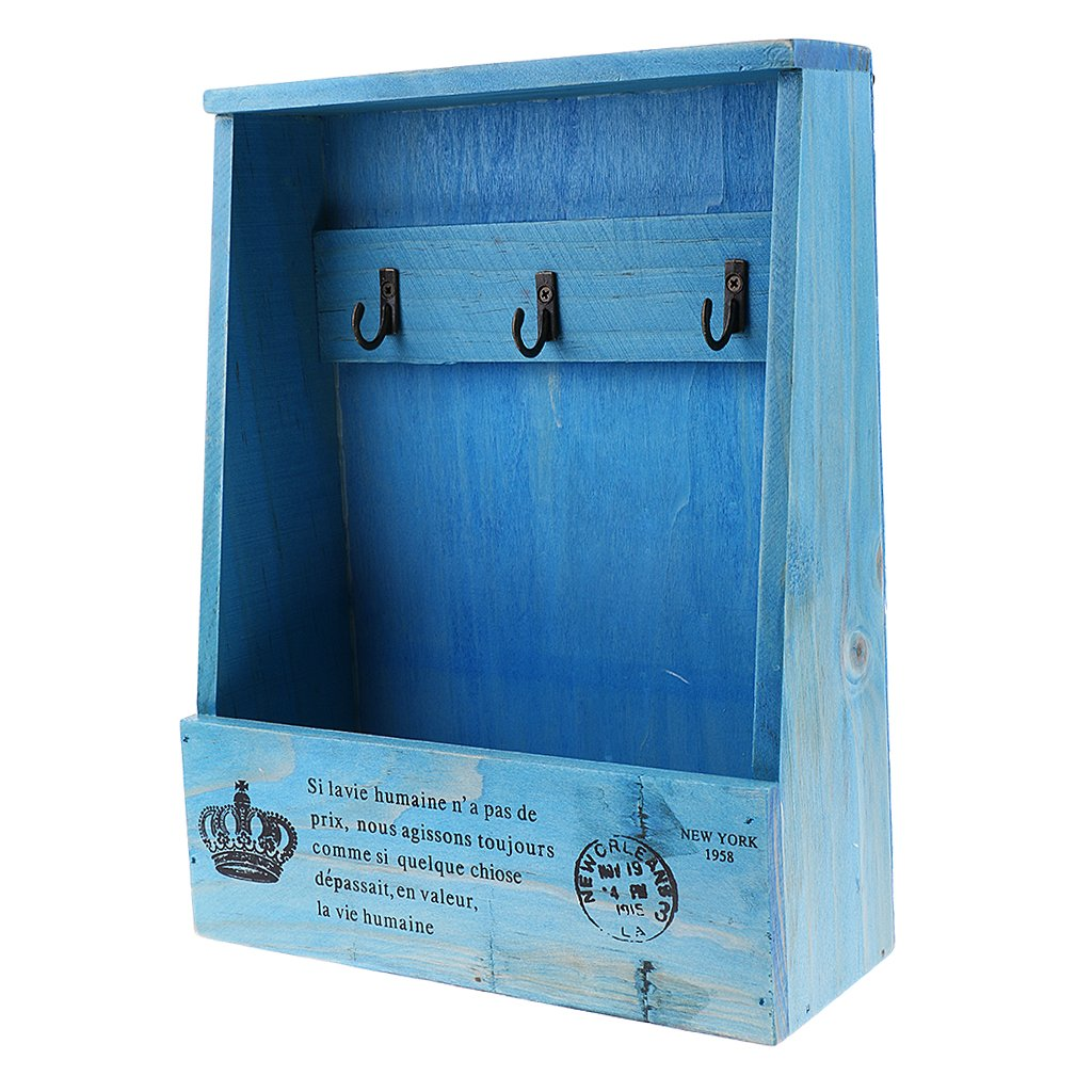 MonkeyJack Wooden Key Hook Shelving Display Unit Shelf Wall Hanging Box Storage Cubby - Blue, as described