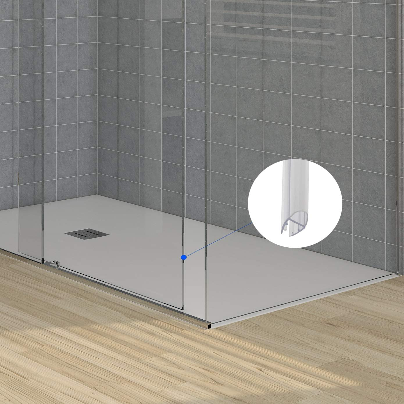 2,20 MT – Junta de estanqueidad para mampara de ducha, transparente, de 9 mm, para cristal de 8 mm: Amazon.es: Bricolaje y herramientas